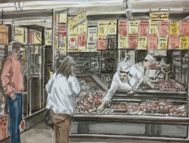売り出しの肉屋