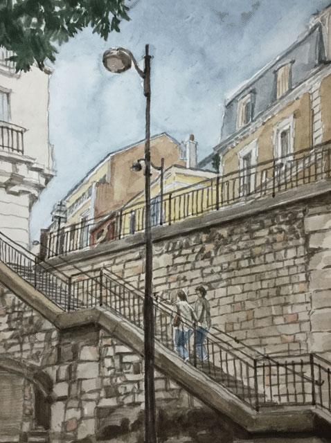 パリ左岸にある階段