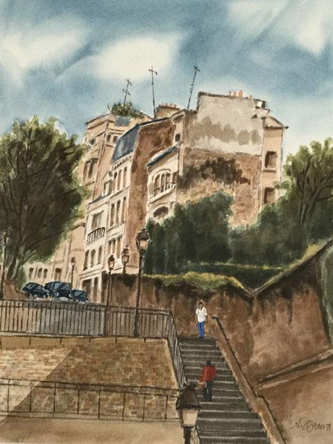 モンマルトルの裏通り階段