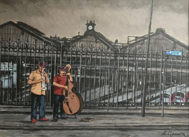 サン・ラザール駅と路上ミュージシャン