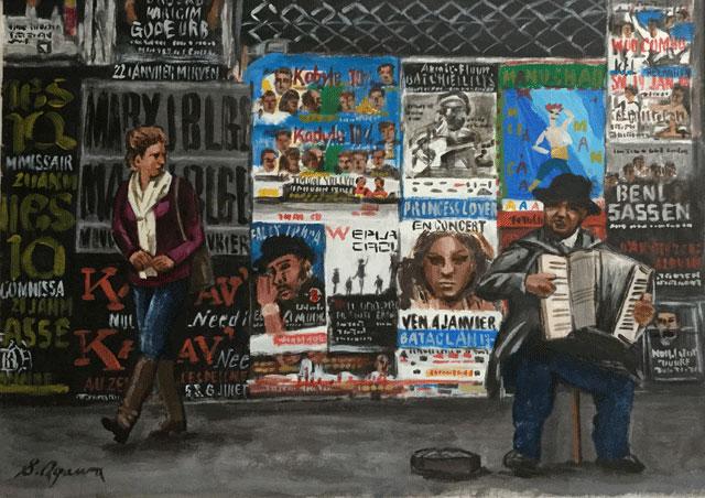 場末のポスターと路上ミュージシャン